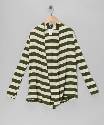 Green & Ivory Stripe Open Cardigan