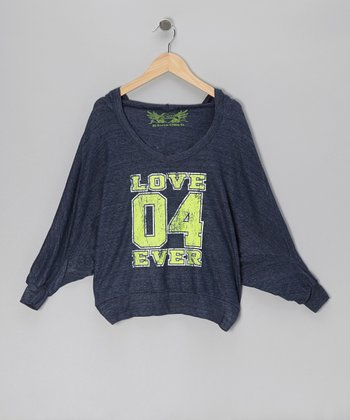 Navy 'Love 04 Ever' Hooded Dolman Top