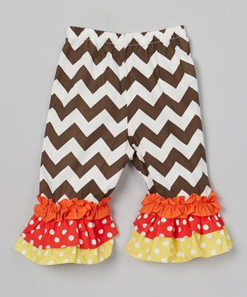 Brown & White Triple Ruffle Pants - Infant, Toddler & Girls