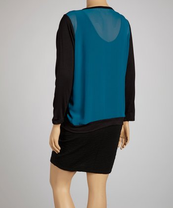 Black & Teal Cardigan - Plus