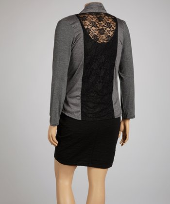 Light Gray Lace-Back Open Cardigan - Plus