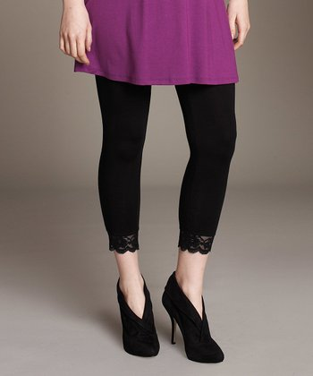 Black Lace Trim Maternity Leggings