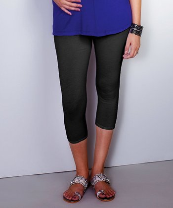 Black Cropped Maternity Leggings