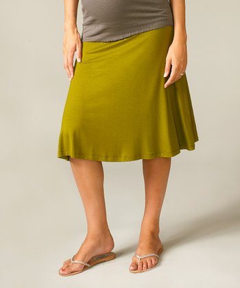 Gold & Olive Knit Maternity Skirt
