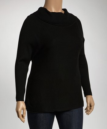 Black Cowl Neck Sweater - Plus