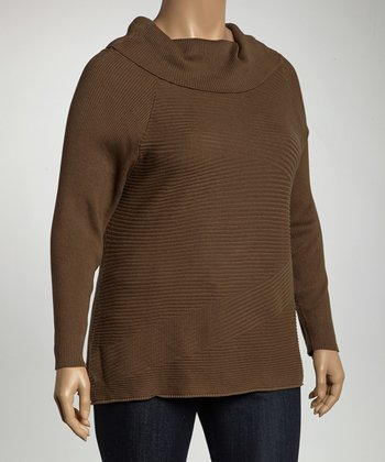 Olive Cowl Neck Sweater - Plus