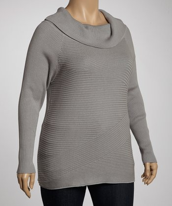 Heather Gray Cowl Neck Sweater - Plus