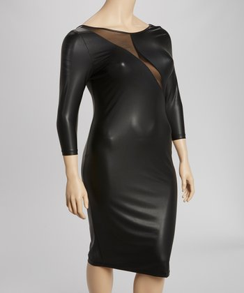 Black Mesh-Panel Dress - Plus