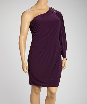 Plum Asymmetrical Embellished Drape Dress - Plus
