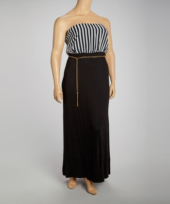 Black & White Stripe Chain Strapless Dress - Plus