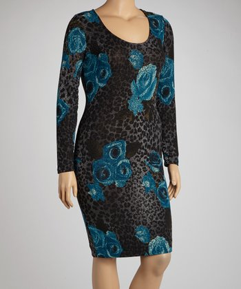Blue & Black Floral Leopard Dress - Plus
