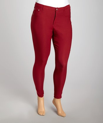 Red Super Stretch Skinny Pants - Plus