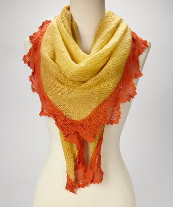 Yellow Lace-Trim Scarf
