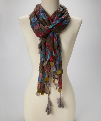 Brown Floral Tassel Scarf