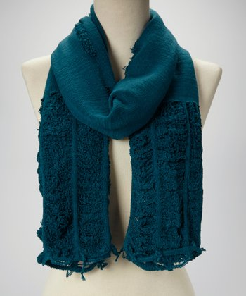 Teal Ruched Fray Scarf