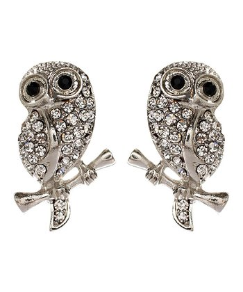Silver Baby Owl Stud Earrings