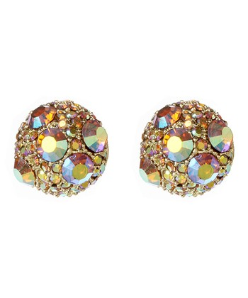 Gold & Clear Aurora Evening Stud Earrings