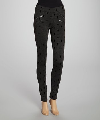 Charcoal Cross Ponte Leggings