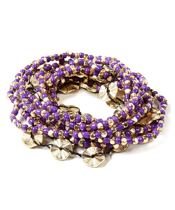 Purple Amelie Stretch Bracelet Set