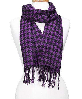 Purple Houndstooth Fringe Scarf