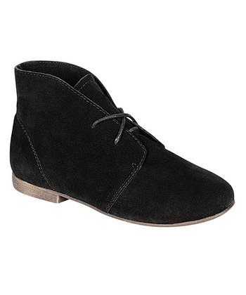 Black Faux Suede Sandy Ankle Bootie