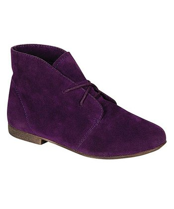 Purple Faux Suede Sandy Ankle Bootie