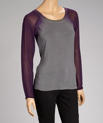Charcoal & Purple Raglan Top