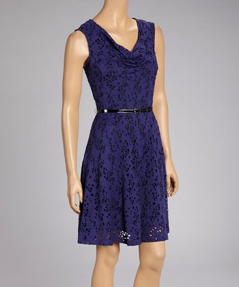 Purple Perforated Sleeveless Cowl Neck Dress