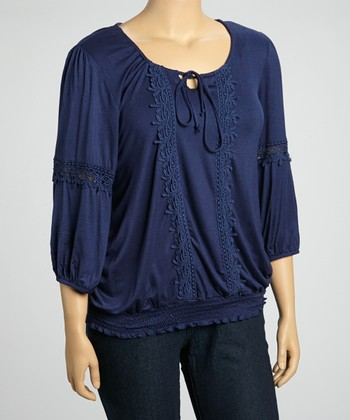 Navy Crochet Embroidered Peasant Three-Quarter Top - Plus