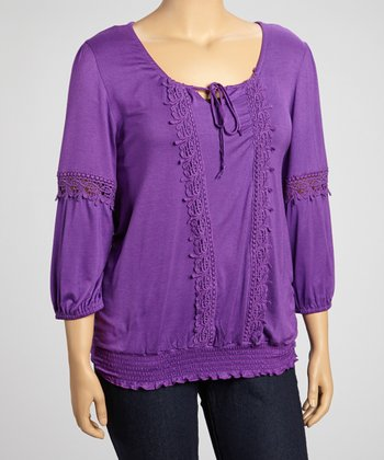 Purple Crochet Embroidered Peasant Three-Quarter Top - Plus