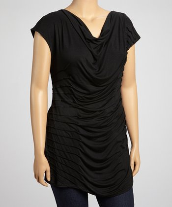 Black Pleated Drape Top - Plus