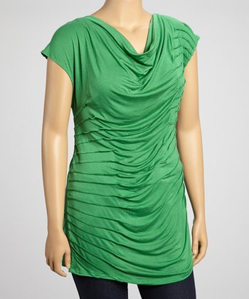 Kelly Green Pleated Drape Top - Plus