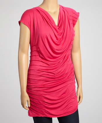 Raspberry Pleated Drape Top - Plis