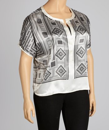 White & Black Tile Cap-Sleeve V-Neck Top - Plus