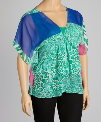 Blue & Mint Tropics Cape-Sleeve V-Neck Top - Plus