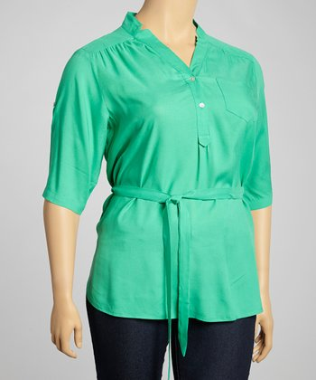 Jade Belted Button-Up Top - Plus