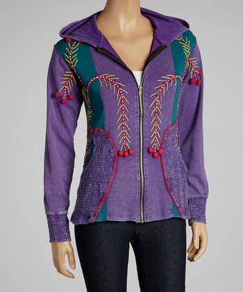 Purple & Red Embroidered Pines Zip-Up Hoodie