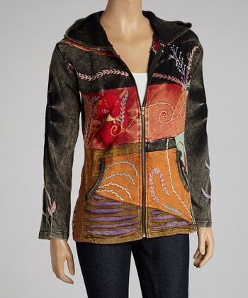 Orange & Gray Embroidered Patchwork Zip-Up Hoodie