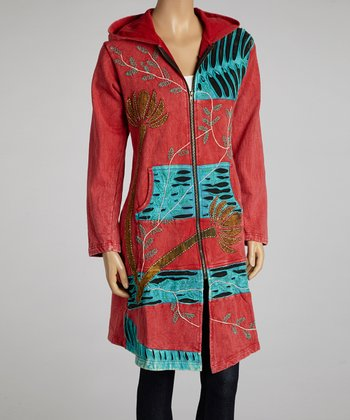 Red & Turquoise Embroidered Zip-Up Hoodie - Women