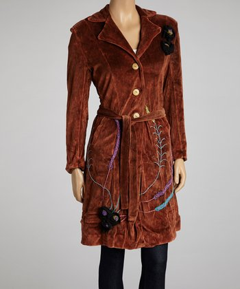 Rust Embroidered Tie-Waist Coat