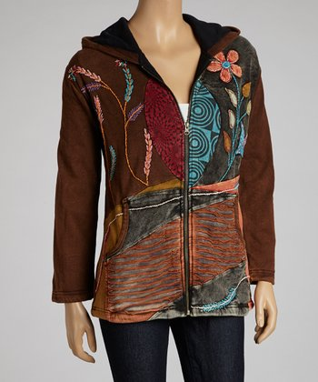 Brown Floral Embroidered Cotton Fleece Jacket