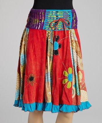 Orange & Turquoise Panel A-Line Skirt
