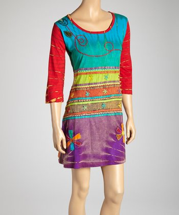 Red & Blue Tie-Dye Embroidered Shift Dress