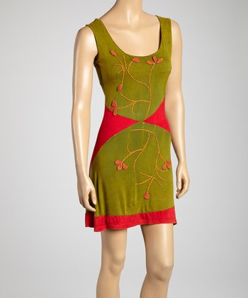 Lime & Red Orange Vine Embroidered Tank Dress