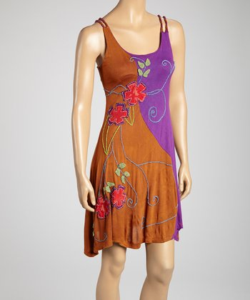 Rust & Purple Embroidered Tank Dress