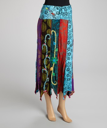 Blue & Purple Floral Panel Maxi Skirt