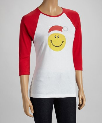 White & Red Happy Face Raglan Tee