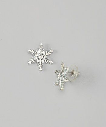 White Gold Snowflake Stud Earrings