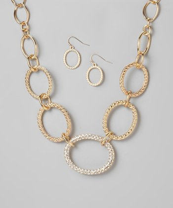 Gold Rhinestone Chain-Link Necklace & Earrings Set