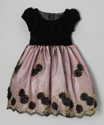 Black & Pink Velvet Flower Dress - Infant, Toddler & Girls